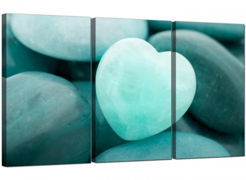 Teal Green Blue Love Heart Abstract Canvas