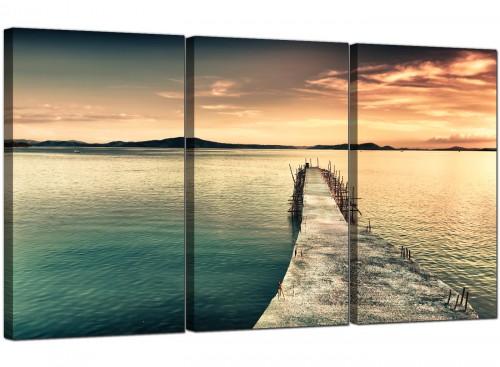 Sunset Jetty Pier Blue Lake View Landscape Canvas Art