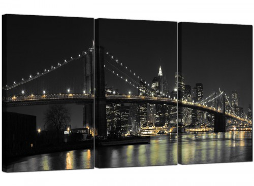Modern Black White NYC Brooklyn Bridge Cityscape Canvas