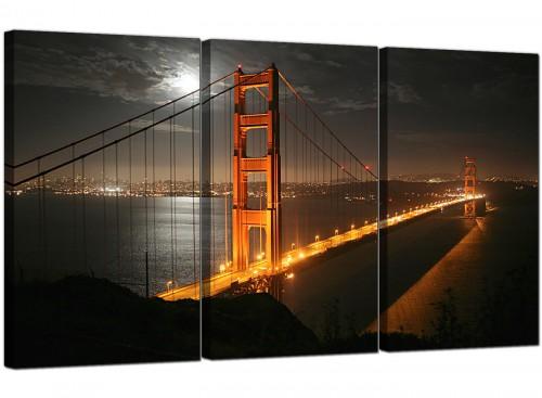 San Francisco Golden Gate Bridge Night Cities Canvas