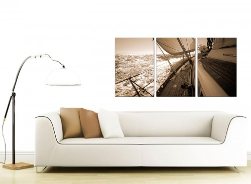 Set of 3 Sea Canvas Art 125cm x 60cm 3106