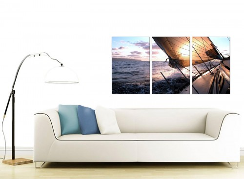 3 Panel Sea Canvas Wall Art 125cm x 60cm 3096