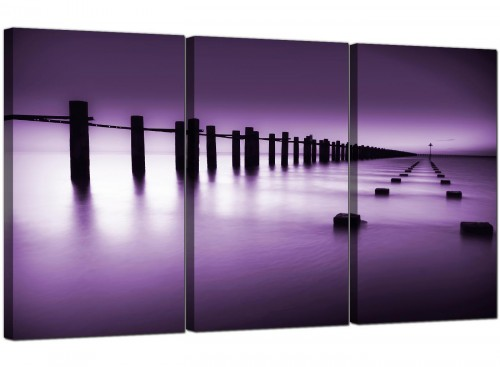 Purple White Beach Scene Landscape Modern Canvas Art