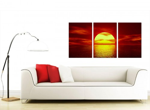 Set of 3 Sea Canvas Prints 125cm x 60cm 3001