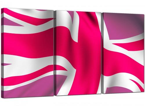 Set of 3 Flag Canvas Prints UK Britain 3012