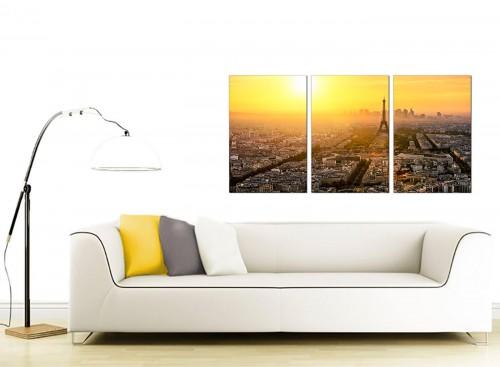 3 Panel French City Canvas Prints 125cm x 60cm 3153