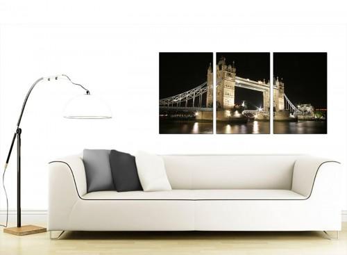 Set of Three British City Canvas Wall Art 125cm x 60cm 3023