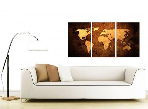 3 Panel World Map Canvas Wall Art 125cm x 60cm 3188
