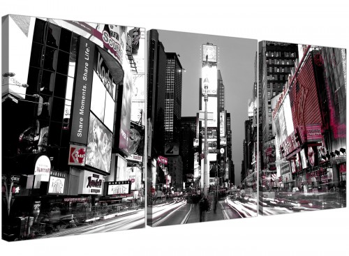 Set of 3 Cityscape Canvas Prints UK Times Square New York 3213