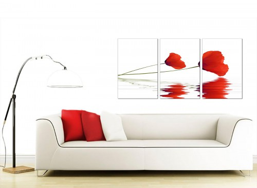 Set of 3 Flower Canvas Prints 125cm x 60cm 3029