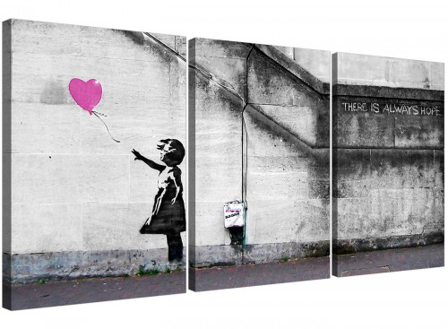 Banksy Balloon Girl Pink Heart Hope Canvas