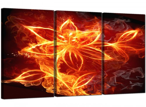 Modern Flaming Fire Flower Orange Black Abstract Canvas