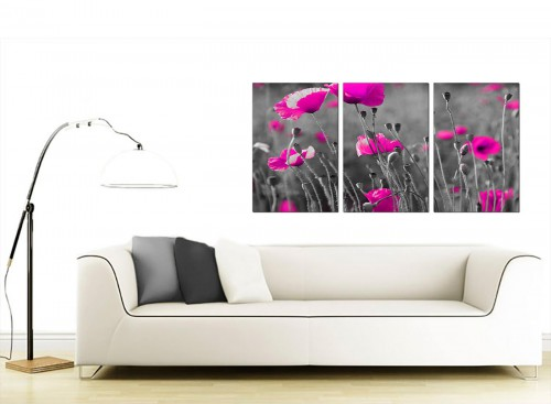 Set of 3 Floral Canvas Prints 125cm x 60cm 3137
