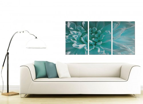 Set of 3 Floral Canvas Prints 125cm x 60cm 3103