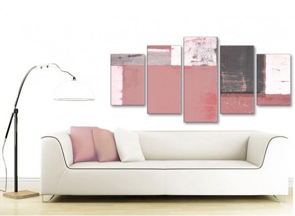 Extra Large Blush Pink Grey Abstract Painting Canvas Wall Art Print ...