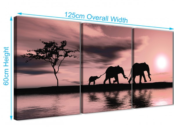 Blush Pink African Sunset Elephants Canvas Wall Art Print - Multi ...