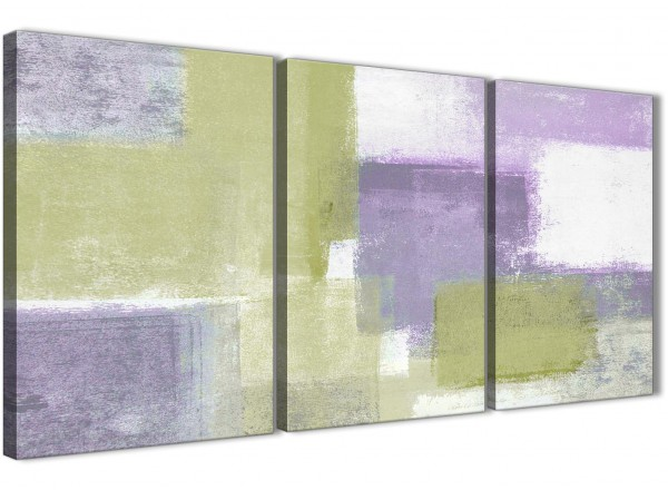 Lime Green Purple Abstract Painting Canvas Wall Art Print - Multi 3 ...