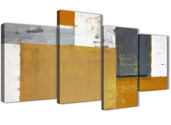 Large Orange Grey Abstract Painting Canvas Wall Art Print - Split 4 ...