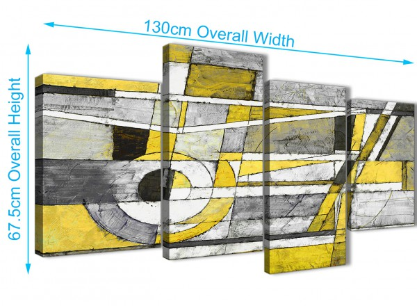 Large Yellow Grey Painting Abstract Bedroom Canvas Wall Art Decor ...