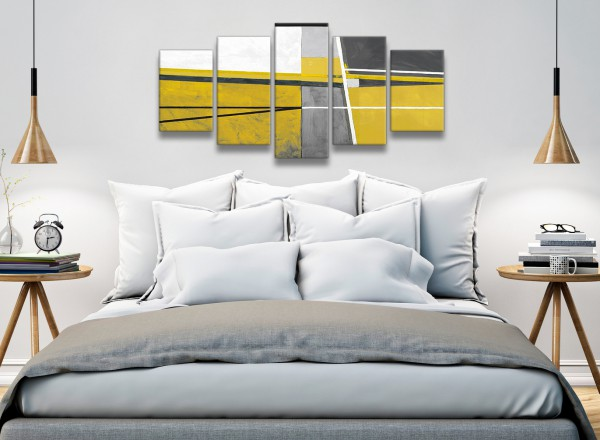 5 Panel Mustard Yellow Grey Painting Abstract Bedroom Canvas ...