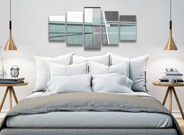 5 Piece Duck Egg Blue Grey Painting Abstract Dining Room Canvas Wall ...