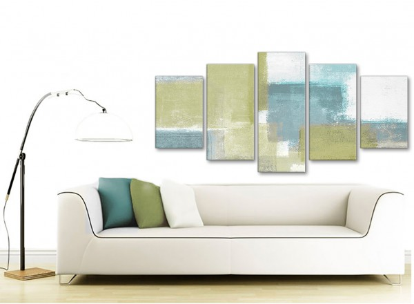 Extra Large Lime Green Teal Abstract Painting Canvas Wall