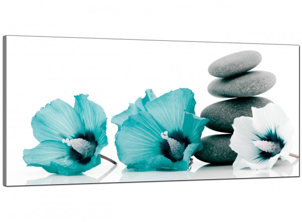 Modern Teal Grey White Flowers Zen Stones Floral Canvas