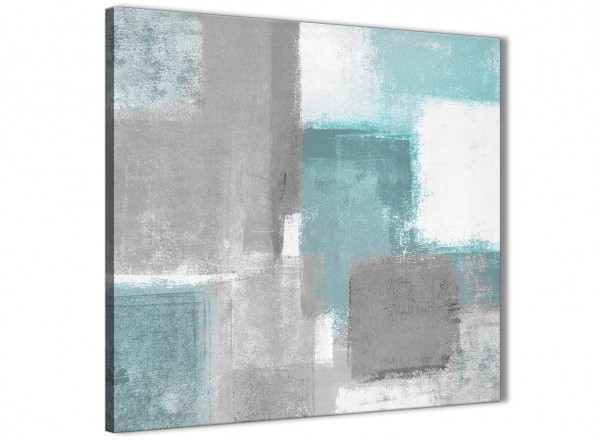 Teal Grey Painting Abstract Canvas Wall Art
