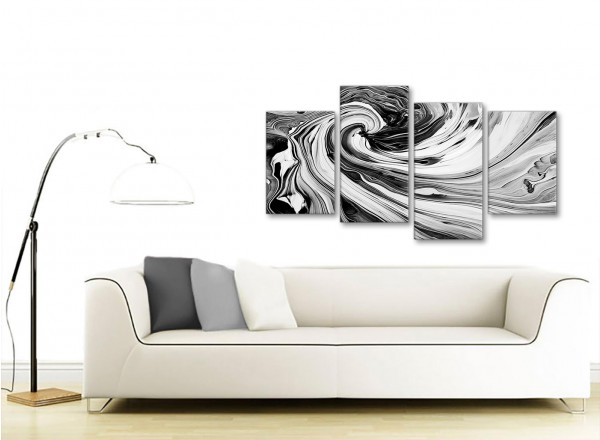 Large Black White Grey Swirls Modern Abstract Canvas Wall Art ...