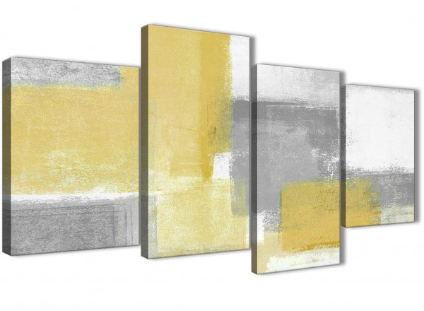Large mustard yellow grey abstract bedroom canvas pictures decor 4367 130cm set of prints