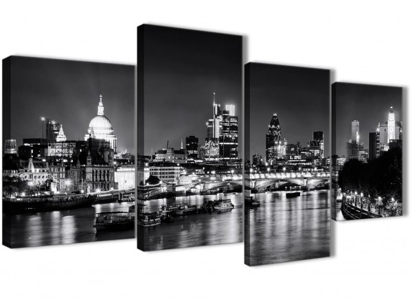 Large river thames london skyline canvas wall art cityscape 4430 black white grey 130cm set of pictures
