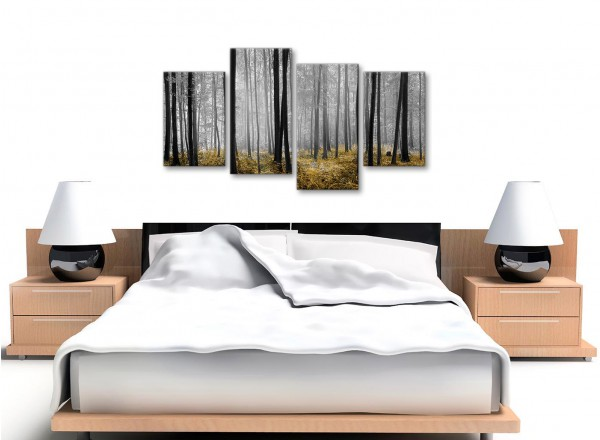 Large Yellow and Grey Forest Woodland Trees Bedroom Canvas Wall Art ...