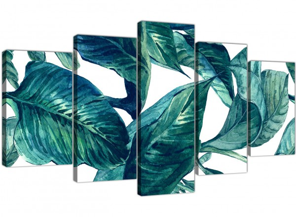Extra Large Teal Blue Green Tropical Exotic Leaves Canvas