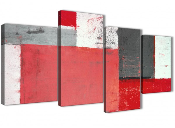 Large red grey abstract painting canvas wall art split 4 panel 130cm wide 4343