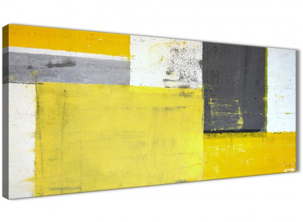 Yellow Grey Abstract Painting Canvas Wall Art Print - Modern 120cm ...
