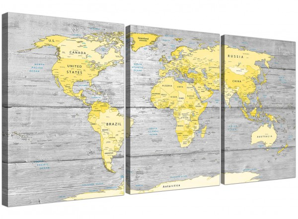 Large Yellow Grey Map of World Atlas Canvas Wall Art Print ...