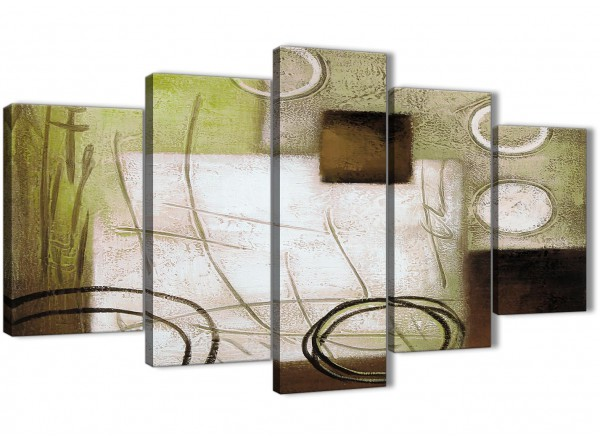 5 piece brown green painting abstract living room canvas wall art decor 5421 160cm xl set artwork