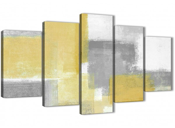 5 Piece Mustard Yellow Grey Abstract Living Room Canvas Wall Art ...