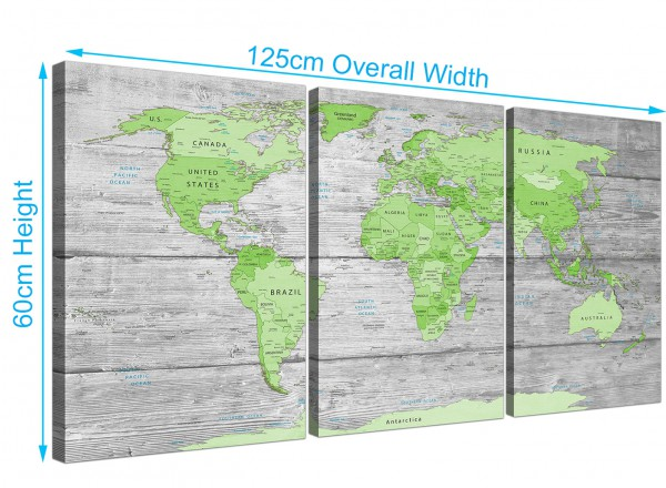 Large lime green grey world map atlas canvas wall art print multi item number 3301 gumiabroncs Image collections