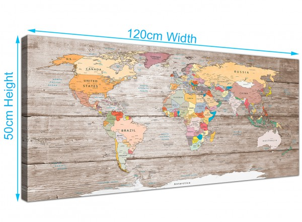 Large decorative map of world atlas canvas wall art print modern overall size 120cm x 50cm gumiabroncs Gallery