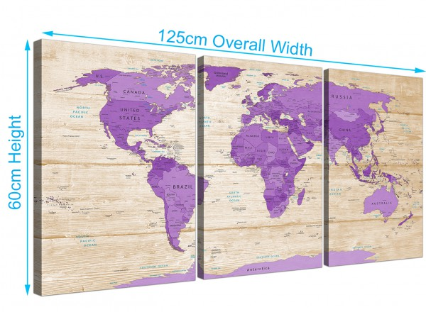 Large purple cream map of the world atlas canvas wall art prints item number 3312 gumiabroncs Image collections