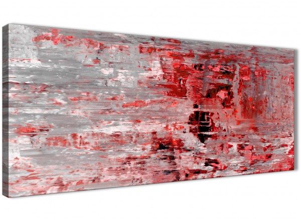 Red Grey Painting Living Room Canvas Wall Art Accessories - Abstract ...