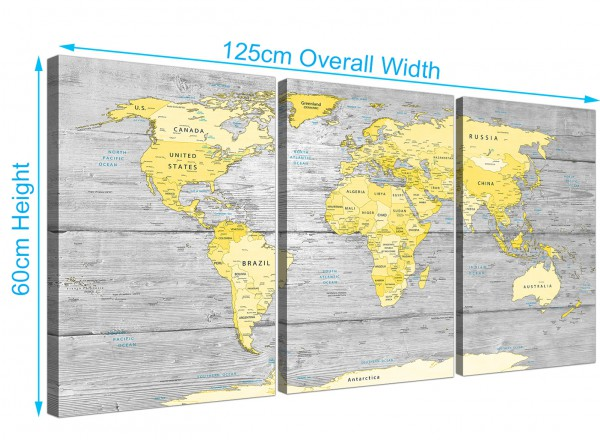 Large yellow grey map of world atlas canvas wall art print item number 3305 gumiabroncs Gallery