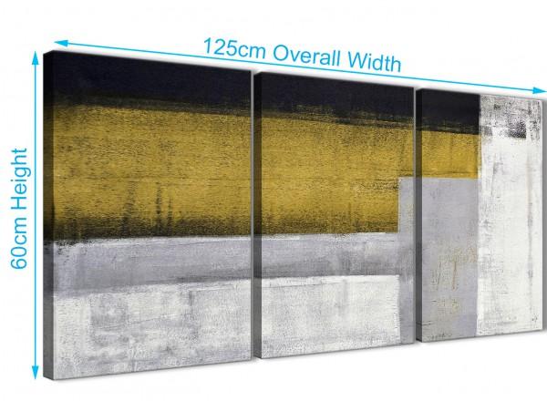 3 Panel Mustard Yellow Grey Painting Kitchen Canvas Wall Art ...