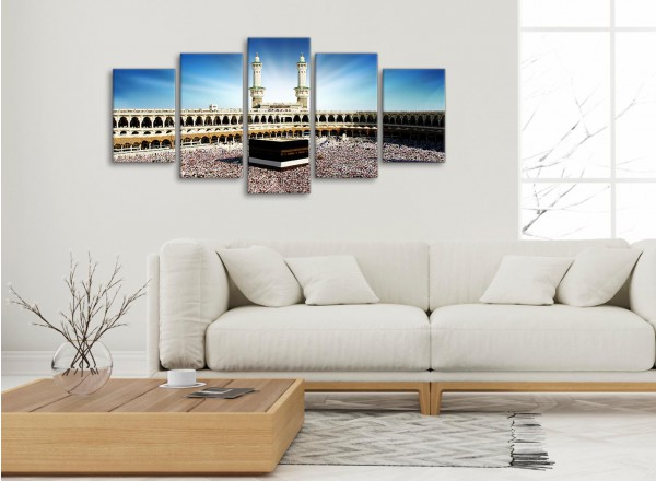 Hajj Pilgrimage Kaaba - 5 Piece Canvas Wall Art Pictures - Islamic ...
