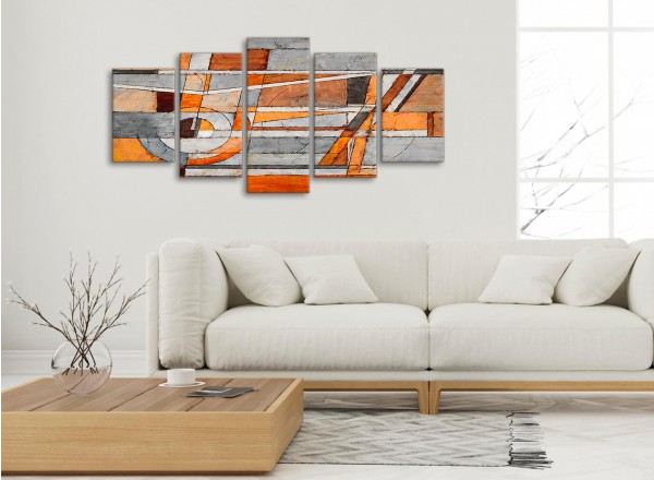 5 Piece Burnt Orange Grey Painting Abstract Office Canvas