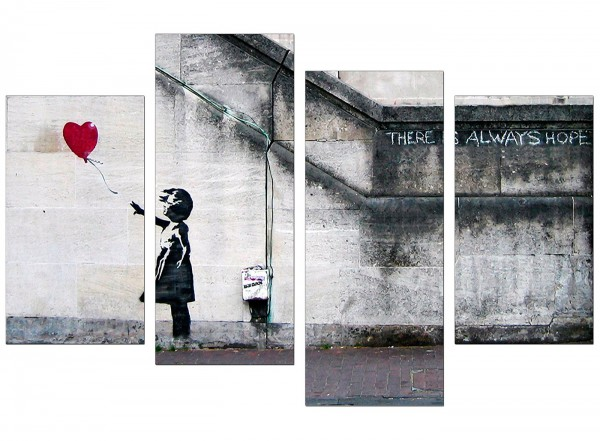 Large Banksy Canvas Prints Balloon Girl Red