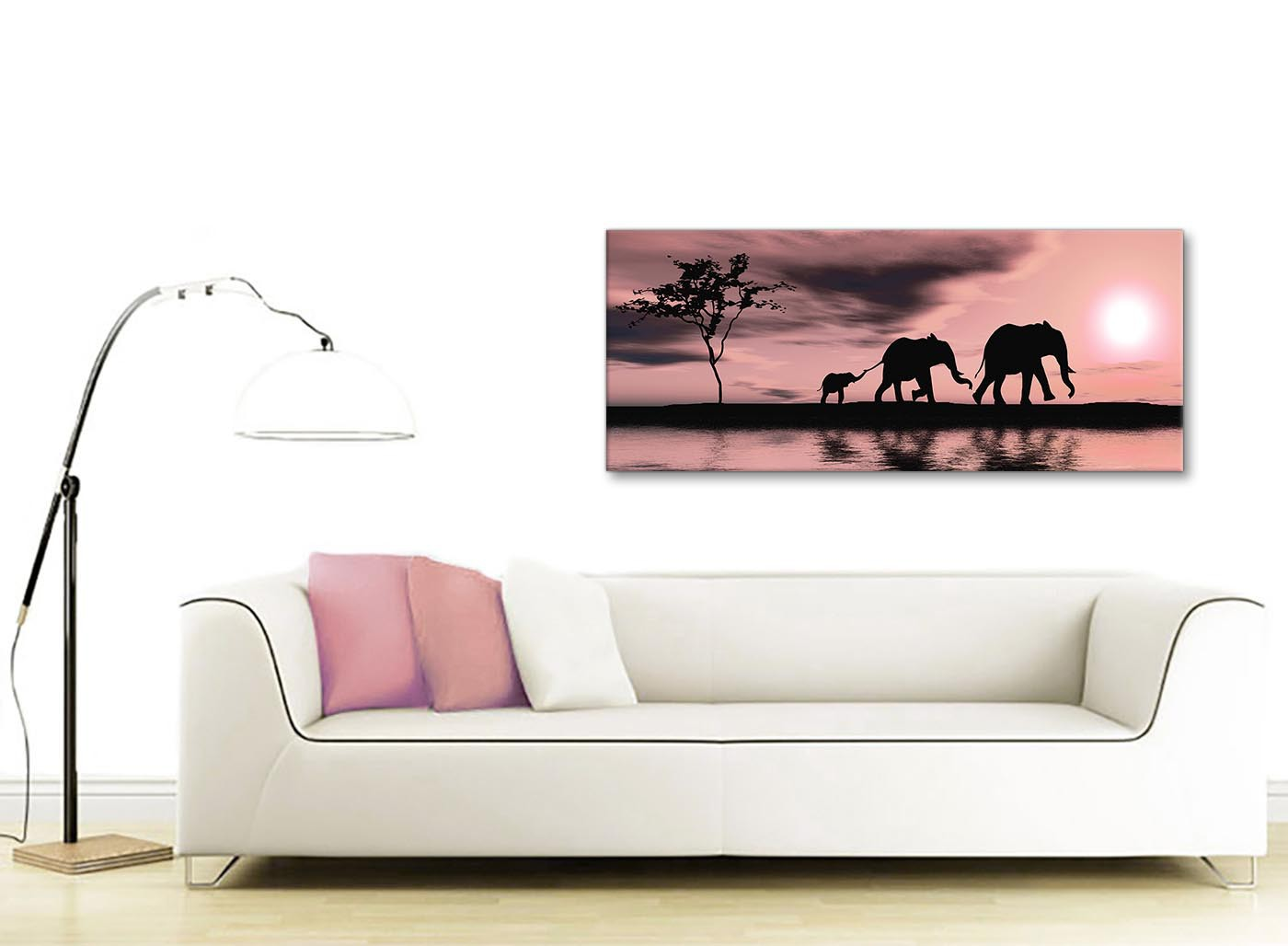 Blush Pink African Sunset Elephants Canvas Wall Art Print