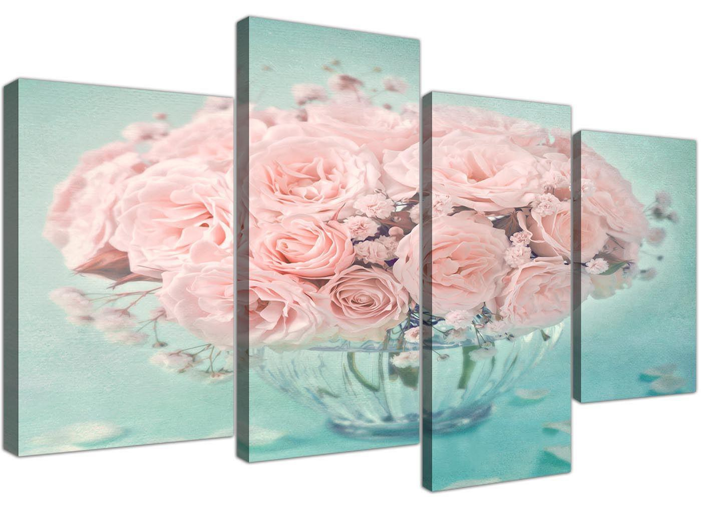 Large Duck Egg Blue And Pink Roses Flower Floral Shabby Chic Canvas