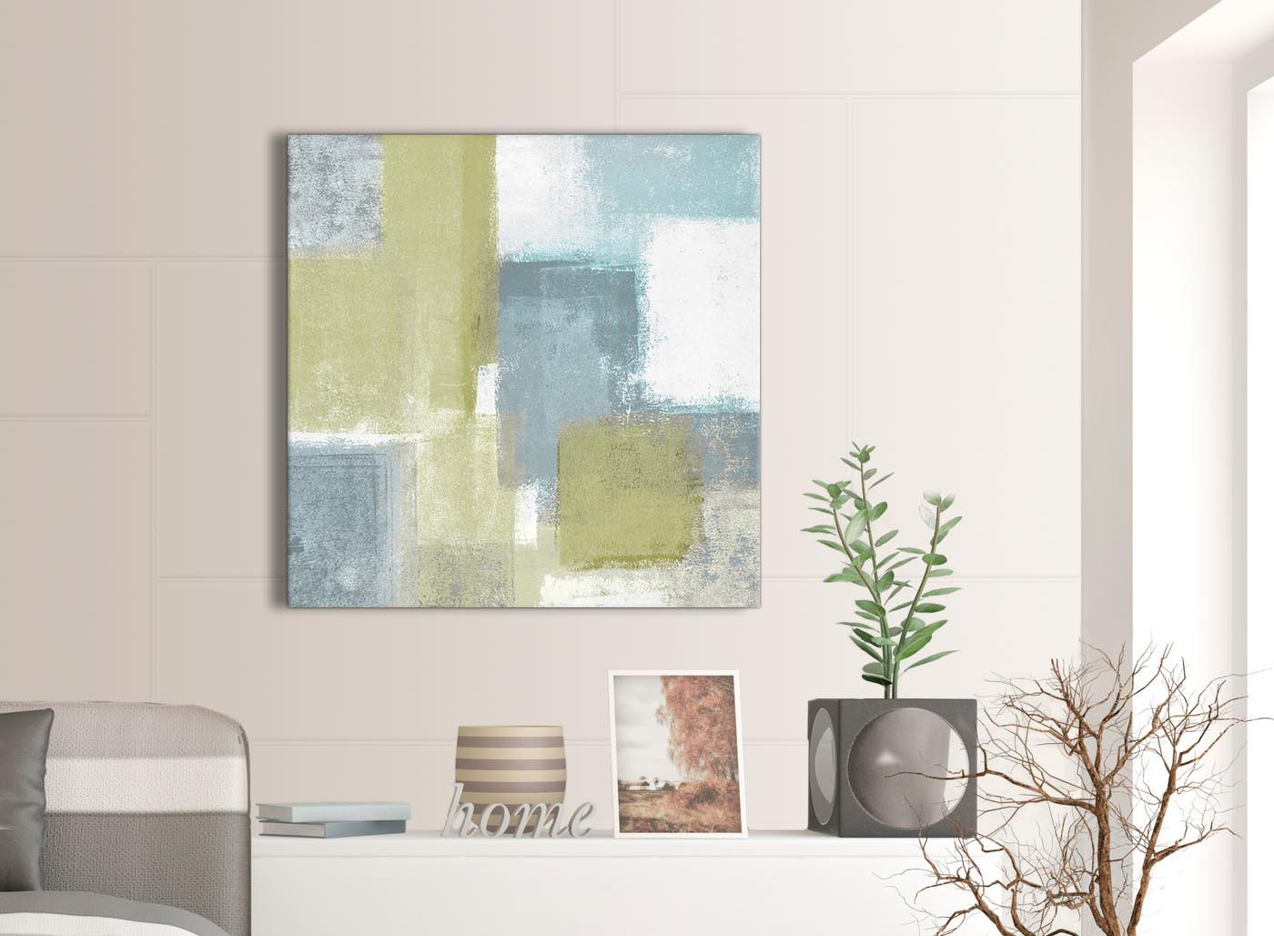 Lime Green Teal Abstract Painting Canvas Wall Art Print